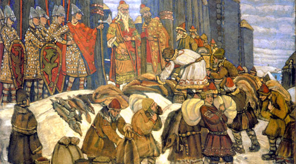 Russian_prince_takes_tribute_by_Roerich_sel_kor